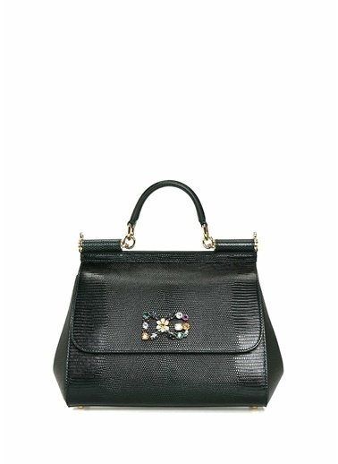 Dolce&Gabbana Dolce&Gabbana Medium Sicily   Kadın Deri Omuz Çantası 101557072 Yeşil